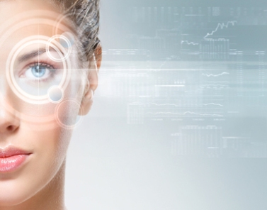 Young and attractive woman from future with the laser hologram o
